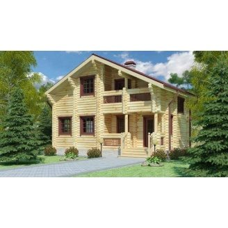 Строительство дома из оцилиндрованного бревна 8х9 м