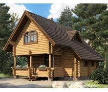Дом деревянный из оцилиндрованного бревна 7х11 м