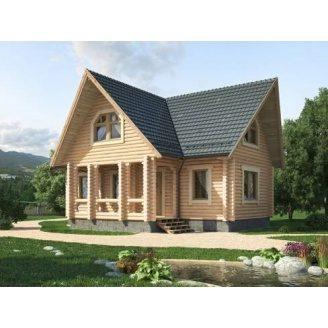Деревяный дом из оцилиндрованного бревна 11х10 м