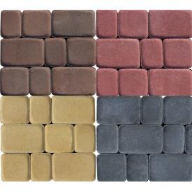Вибропрессованная тротуарная плитка Старый город 40 мм цветная на сером цементе