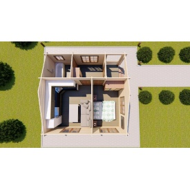 Будинок з профільованого бруса з верандою 6.0х6.0