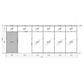Витрина с двухсторчатой дверью стоечно-ригельная система 2195 мм