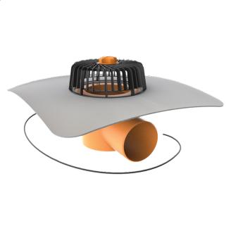Покрівельна воронка горизонтальна з підігрівом і привареним фартухом з ПВХ-мембрани