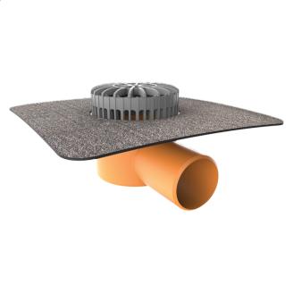 Террасная воронка горизонтальная с приваренным битумным фартуком