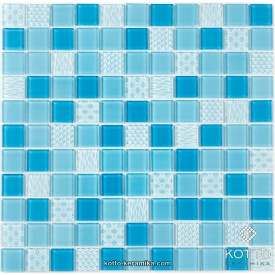 Стеклянная мозаика Котто Керамика GM 4051 C3 BLUE D BLUE M STRUCTURE 300х300х4 мм