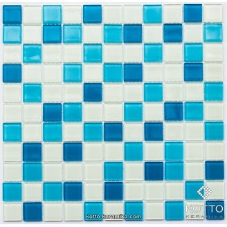 Стеклянная мозаика Котто Керамика GM 4019 C3 BLUE D BLUE M WHITE 300х300х4 мм