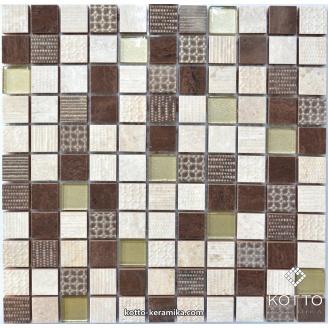 Декоративная мозаика Котто Керамика CM 3042 C3 BEIGE EBONI GOLD 300x300x8 мм