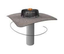 Одношарова покрівельна воронка з підігрівом і привареним бітумним фартухом
