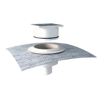 Воронка водосточная для балконов вертикальная с приваренным фартуком для примыкания к покрытию пола
