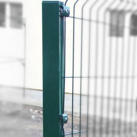 Столб для ограждения Сетка Запад 60x40 мм 2,0 м оцинковка/ПП RAL 6005 зеленый