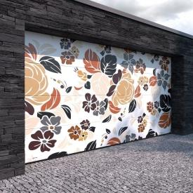 Гаражные секционные ворота KRUZIK Base 2500х2500 мм Dura Print Exclusive цветы пионы