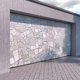 Гаражные секционные ворота KRUZIK Base 2500х2500 мм Dura Print Exclusive бутовый камень