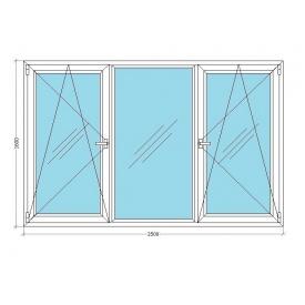 Металопластикове вікно Viknar'OFF Mega Line 500 тричастинне з 1-камерним склопакетом 2,5x1,6 м