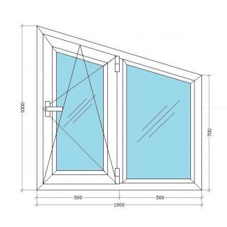 Металлопластиковое окно-трапеция Viknar`OFF Mega Line 500 с 1-кам. стеклопакетом 1x1 м