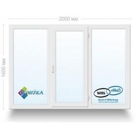 Окно металлопластиковое трехстворчатое WHS 72 с 2х кам. стеклопакетом 2000x1400 мм