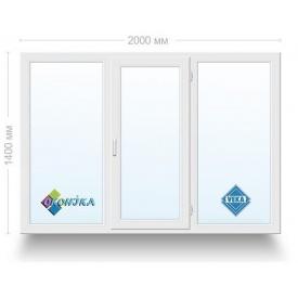 Окно металлопластиковое трехстворчатое Veka Euroline 2х кам. энергосберегающий стеклопакет 2000x1400