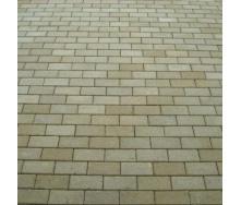 Тротуарная плитка Золотой Мандарин Кирпич стандартный 200х100х80 мм на сером цементе горчичный
