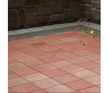 Тротуарна плитка Золотий Мандарин Квадрат великий 200х200х60 мм на сірому цементі червоний