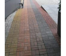 Тротуарна плитка Золотий Мандарин Цегла стандартний 200х100х80 мм на сірому цементі коричневий