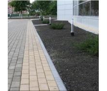 Тротуарна плитка Золотий Мандарин Цегла стандартний 200х100х80 мм на сірому цементі персиковий