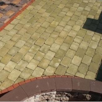 Тротуарная плитка Золотой Мандарин Кирпич Антик 240х160х90 мм горчичный на сером цементе