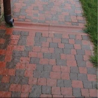 Тротуарна плитка Золотий Мандарин Креатив 60 мм на сірому цементі червоний