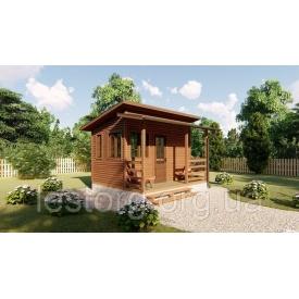 Садовий каркасно-щитовий будинок 4х3,4 м з верандою в скандинавському стилі