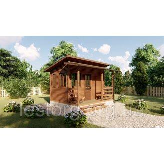 Садовый каркасно-щитовой дом 4х3,4 м с верандой в скандинавском стиле