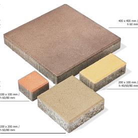 Тротуарная плитка Брусчатка бетонная сухопрессованная 40х40х6 см