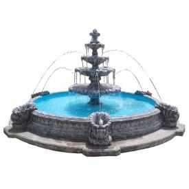 Фонтан садовый Континент Жемчужина бетонный четырехъярусный с большим бассейном с наутилусами
