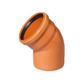 Колено канализационное 110 мм 45 градусов