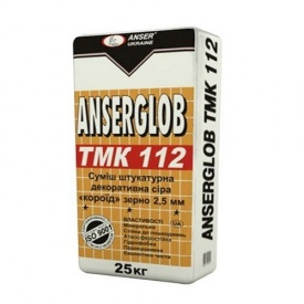 Декоративная штукатурка Короед Ансерглоб ТМК 112 Anserglob TMK 112 зерно 2,5 мм серая 25 кг