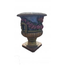 Бетонний квітник МікаБет Амфора з тояндами пофарбований декоративним акрилом