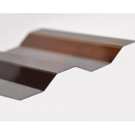 Профилированный монолитный поликарбонат Borrex 0,8 мм 105х200 см янтарный