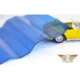 Профилированный монолитный поликарбонат Borrex 0,8 мм 105х200 см синий