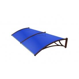 Козирок TanDem 3000х930х280 мм коричневий з стільниковим полікарбонатом 4 мм синій