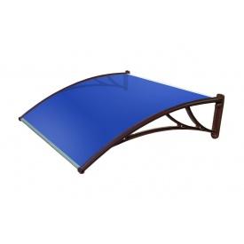 Козырек TanDem 1500х930х280 мм коричневый с сотовым поликарбонатом 4 мм синий