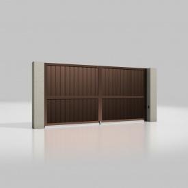 Розпашні ворота ALUTECH Prestige 4000х2000 мм привід Ambo сендвіч-панель S-гофр шоколад (RAL 8017)