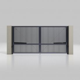 Розпашні ворота ALUTECH Prestige 4000х2000 мм привід Ambo розріджений профіот антрацит (ADS703)