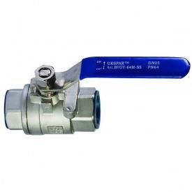 Кран шаровой муфтовый Lateya двусоставной сталь AISI 316 20 мм