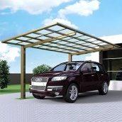 Автомобильный навес из алюминия с монолитным поликарбонатом Oscar CarPort с плоской крышей одиночный