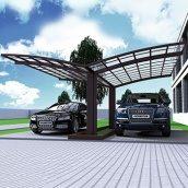 Автомобильный навес из алюминия с монолитным поликарбонатом Oscar CarPort с арочной крышей двойной