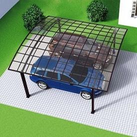 Автомобільний навіс з алюмінію з монолітним полікарбонатом Oscar CarPort з арковою дахом подвійний