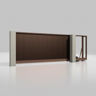 Відкатні ворота ALUTECH Prestige 4000х2000 мм привід Roteo сендвіч-панель S-гофр шоколад (RAL 8017)