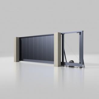 Відкатні ворота ALUTECH Prestige 4000х2000 мм привід Roteo сендвіч-панель S-гофр антрацит (ADS703)