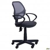 Офісне крісло AMF Чат АМФ-4 870-1000х650х650 мм сидіння А-14 спинка сітка сірий