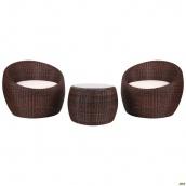 Комплект мебели AMF Domingo из ротанга Elit SC-FT021 Brown Mixed YF1217-R ткань A13815