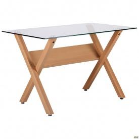 Обідній стіл AMF Maple 1200х700х750 мм скло прозоре ніжки світлі