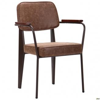 М`яке крісло AMF Lennon 820х590х590 мм кави-лунго з дерев`яними підлокітниками