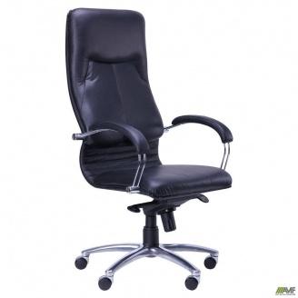 Кресло АМФ Ника HB Кожа Люкс комбинированная каркас хром 640x690x1330 мм черный